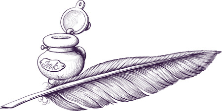 feather quill: Inkwell and quill pen