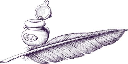 pluma de escribir antigua: Tintero y pluma de ave