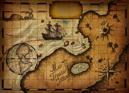 vintage world map: Map of Treasure Island