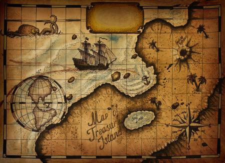isla del tesoro: Mapa de la isla del tesoro Foto de archivo