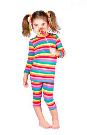 paletas de caramelo: Chica en traje de rayas brillantes