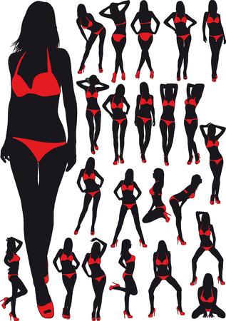 nude women: twenty three silhouette  erotic girl in red bathing suit