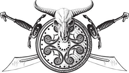 crossed swords: Emblema con un escudo, un escudo y espadas cruzadas cr�neo de b�falo