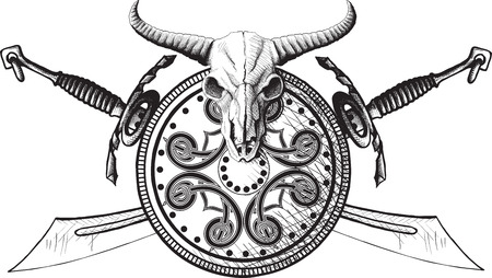 Emblem with a shield, a shield and crossed swords buffalo skull