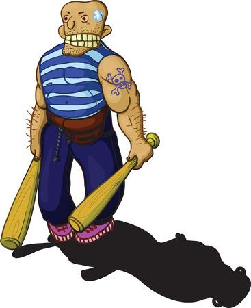 hooligan: The bald, muscular, aggressive hooligan with two baseball bats