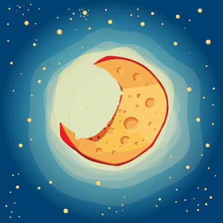 knows: Everyone knows that the moon is from cheese Illustration