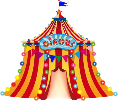 circus arena: Large circus tent with flag, an open entrance and decorated with lights