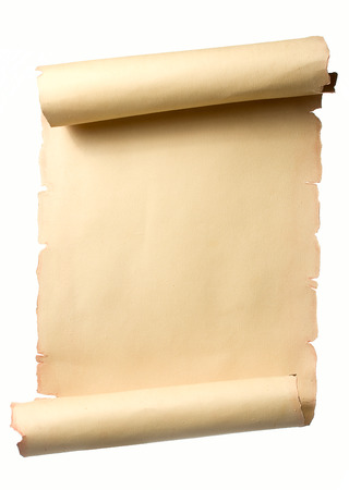 Open beige ancient scroll with blank space for text Foto de archivo