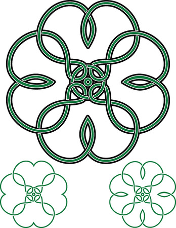 intermediate: Four Leaf Clover drawn in traditional Celtic style with intermediate drawings as bonus Illustration