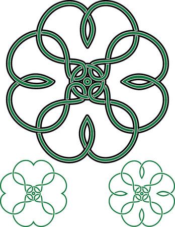Mandala Celta Con Adorno De Nudo Y Trébol De 4 Hojas. Ilustración ...