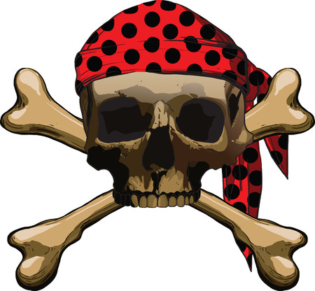 roger: Pirate symbol Jolly Roger with two crossbones isolated on white background Illustration