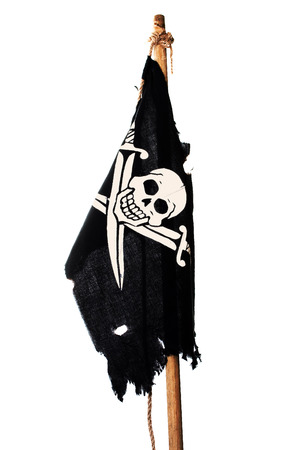 hijack: Hanging no wind pirate flag on the mast. Isolated on white
