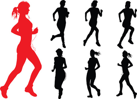 long distance: Young slim woman with headphones jogging and sportswear Illustration
