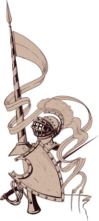 crusader: knightly emblem with spears with helmet, sword and shield and the flag with an empty place Illustration