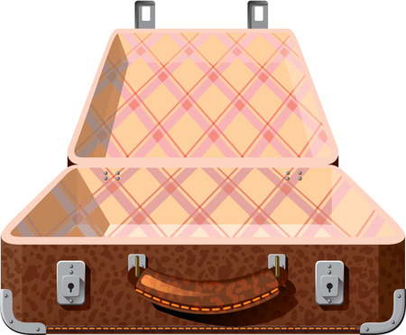 travelers: Classic case for tourists and travelers with the cover open and empty place for items