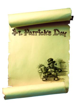 leprechaun background: Scroll designed Saint Patrick. With sitting drunk Leprechaun. Handwritten text and blank space for text