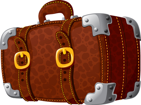 strapped: An old leather suitcase for travel indoor belts strapped .Isolated on white