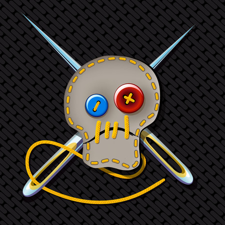 brutal: comic picture. Sign of brutal tailor with an embroidered skull and crossed needles