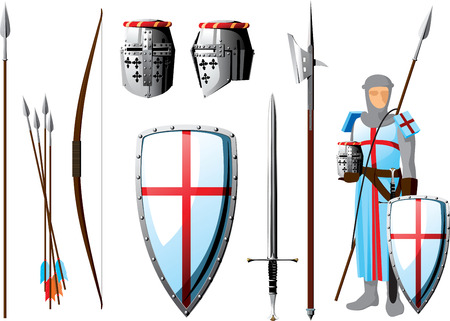 crusader: collection of weapons and protective equipment Crusader, as well as the silhouette of knight