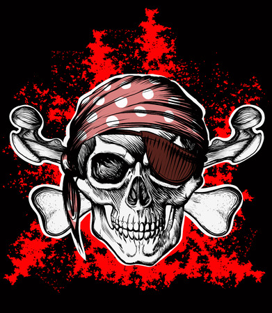 jolly roger: Jolly Roger pirate symbol with crossed daggers on the black and red background