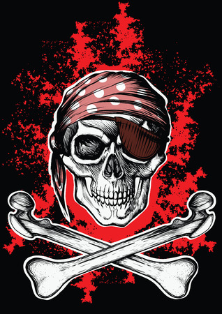 Jolly Roger pirate symbol with crossed daggers on the black and red background
