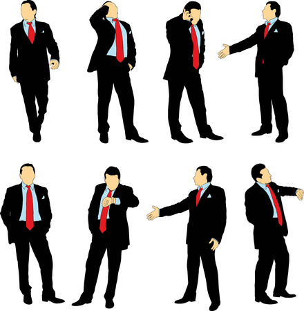 standing man: Silhouettes of businessmen in business suit in different situations on a white background. The color can be easily changed
