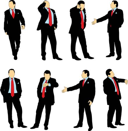 personas de pie: Siluetas de hombres de negocios en traje de negocios en diferentes situaciones sobre un fondo blanco. El color se puede cambiar fácilmente