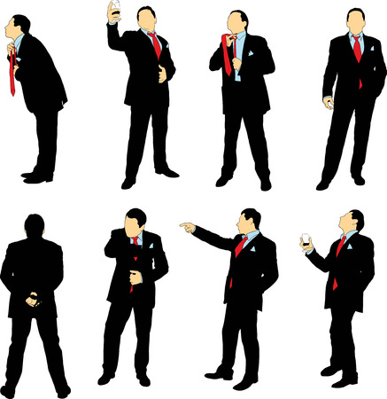 standing businessman: Silhouettes of businessmen in business suit in different situations on a white background. The color can be easily changed