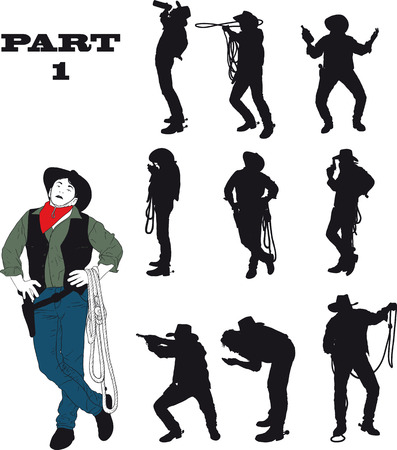 Silhouettes of cowboy in traditional costume in various situations on a white background.