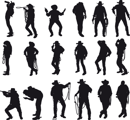 exercise silhouette: Silhouettes of cowboy in traditional costume in various situations on a white background.