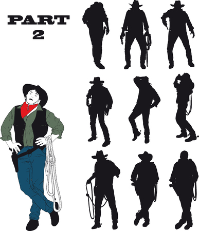 western culture: Silhouettes of cowboy in traditional costume in various situations on a white background.