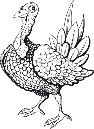 graphic art: Funny turkey in black and white flowers isolated on white background