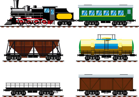 Old steam locomotive with set of different wagons designed to carry goods, liquids and passengers
