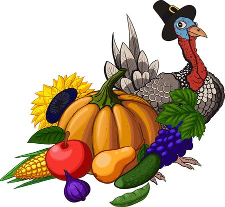 Thanksgiving Day holiday still life with fruit vegetables, turkey