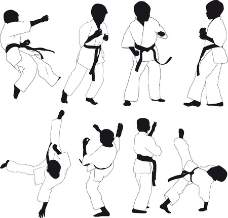 karate practice: Silhouettes of children karate in kimono, various stands and striking