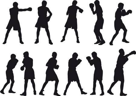 situations: Silhouette of teenage boxers in different sports situations