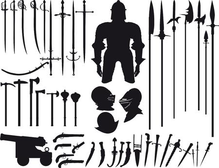 caballero medieval: Gran conjunto no es fantasía, pero hay varios de siluetas de armas medievales de diferentes momentos