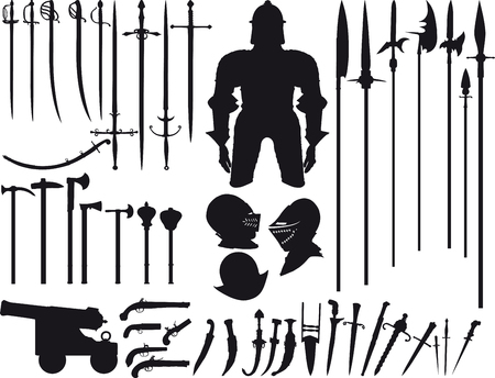 Big set is not fantasy, but there are various of silhouettes of medieval weapons of different times
