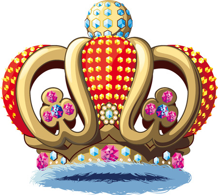 monarchy: Richly decorated Royal crown with jewels. Isolated on white