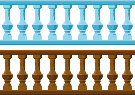 seamless vintage railing made of wood and stone or gypsum 일러스트