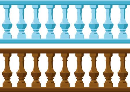 seamless vintage railing made of wood and stone or gypsum 일러스트