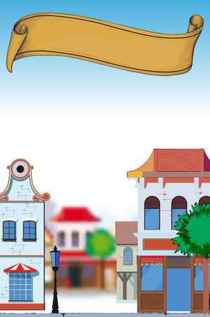 town: Perspective image of the small town in the afternoon with an empty banner for text