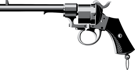 six shooter: vintage cowboy priming revolver side view isolated on white Illustration