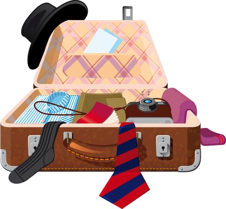 Abra la maleta en la que las cosas se suman. O registrar equipaje en la aduana Ilustración de vector