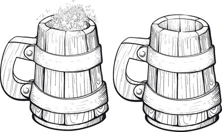 stout: Beer wooden mugs one filled with foam and the second empty
