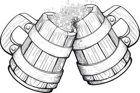 clink: Two old wooden beer mugs clink glasses of them pouring foam Illustration