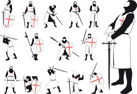 sword and shield: Set of silhouettes of Crusader with various weapons in different situations