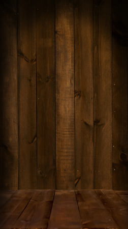 wooden floors: Wooden floors and walls made of poorly processed dark old boards
