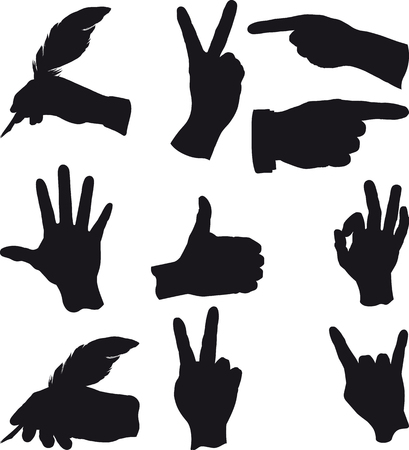 two thumbs up: few hand gestures in different situations and actions Illustration