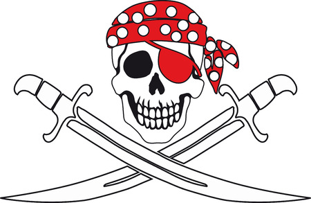 cavalry: Jolly Roger Pirate sign on white background with white backgrounds on the inside contour.